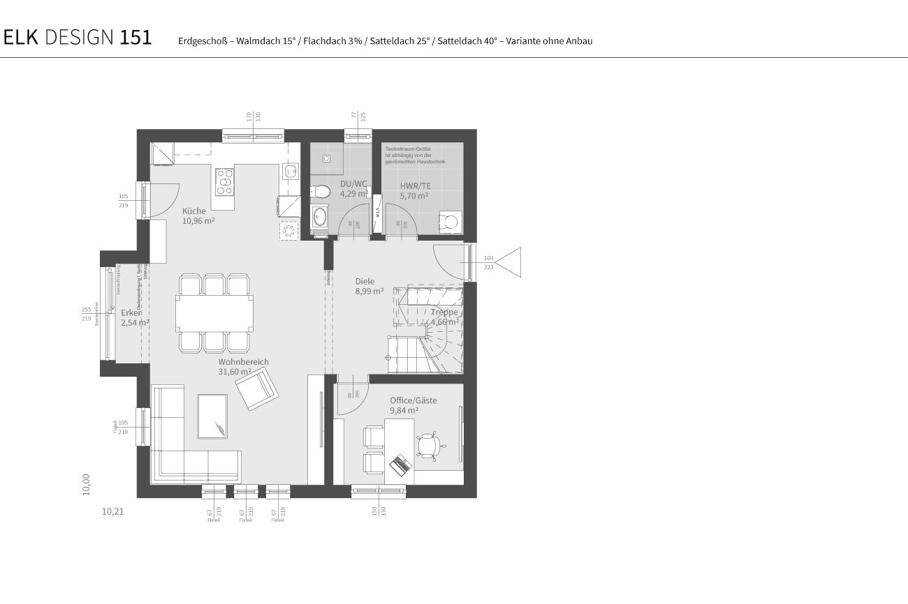 grundriss-elk-fertighaus-elk-design-151-EG-WD-FD-SD25-SD40-Variante-ohne-Anbau